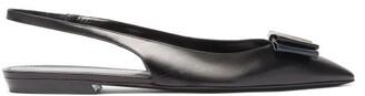 Saint Laurent Anais plaque Bow Leather Slingback Flats - Black Navy