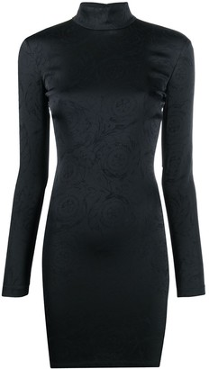 Versace Jeans Couture Embossed Print Long-Sleeve Mini Dress