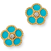 Roberto Coin 18K Yellow Gold Daisy Diamond & Turquoise Stud Earrings - 100% Exclusive