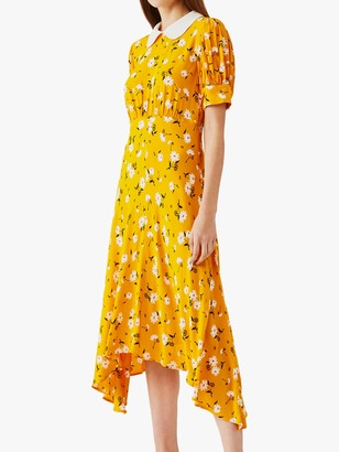 Ghost Tiggy Daisy Print Asymmetric Hem Dress, Mary Yellow