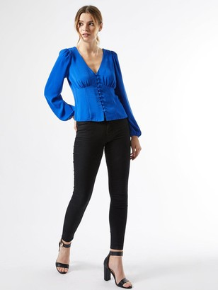 Dorothy Perkins Long Sleeve Button Through Top - Cobalt