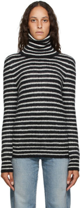 Saint Laurent Black and White Mohair Striped Turtleneck