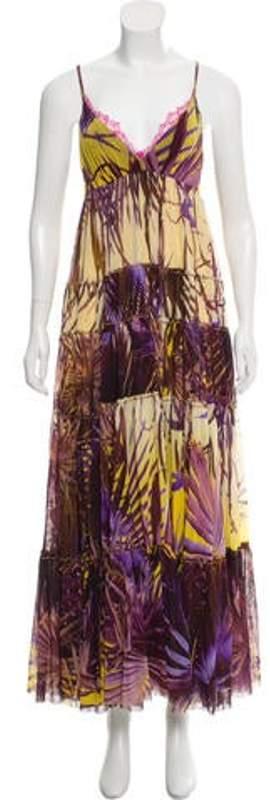 Jean Paul Gaultier Printed Sleeveless Dress Purple Printed Sleeveless Dress