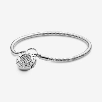Pandora Moments Pave Padlock Clasp Snake Chain Bracelet