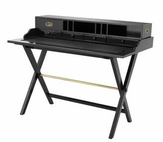 Eichholtz Sahara Solid Wood Desk with Hutch Color: Black/Black