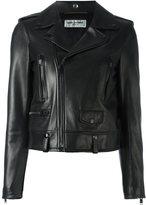 Saint Laurent classic leather biker jacket - women - Cotton/Lamb Skin/Cupro - 38