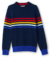Classic Boys Placed Stripe Crewneck Sweater-Midnight Navy Donegal Dog