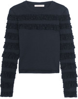 See by Chloe Ruffle-trimmed Cotton-jersey Top - Midnight blue