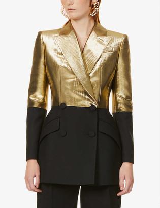 Alexander McQueen Colour-block wool and silk-blend blazer