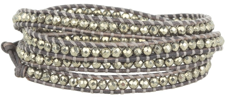 Chan Luu Pyrite Stones Wrap Bracelet On Natural Grey Leather (Pyrite/Natural Grey) - Jewelry