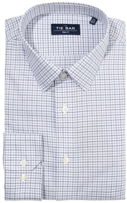 Tie Bar Twill Tattersall Blue Non-Iron Dress Shirt