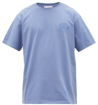 J.W.Anderson Logo-embroidered Cotton T-shirt - Mens - Blue