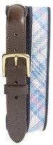 Vineyard Vines Men's Saba Rock Plaid Leather & Canvas Belt