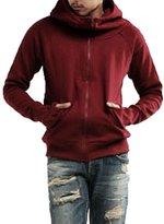 uxcell® Men Thumbhole Long Sleeve Hooded Zip up Sweatshirt M