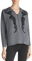 The Kooples Embroidered Zip-Up Hooded Sweater