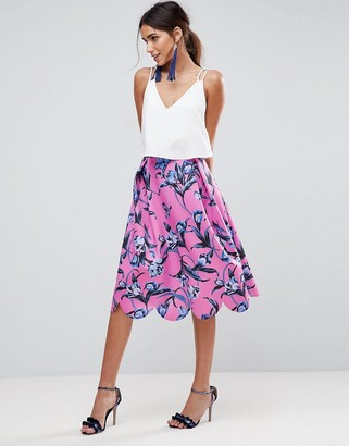 ASOS DESIGN scuba midi prom skirt with scallop hem in floral print