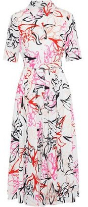 Badgley Mischka Belted Printed Crepe De Chine Midi Dress