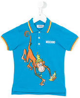 Moschino Kids - monkey print polo shirt - kids - Cotton - 10 yrs