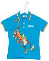 Moschino Kids - monkey print polo shirt - kids - Cotton - 5 yrs