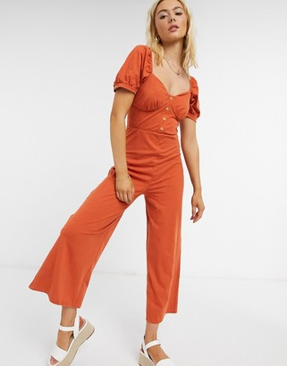 ASOS DESIGN jersey button-front cupped tea culotte jumpsuit in burnt orange