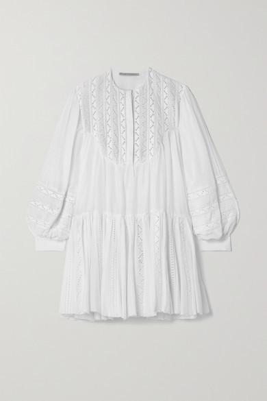 RUE MARISCAL Crochet-trimmed Cotton And Silk-blend Voile Mini Dress - White