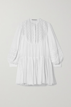 RUE MARISCAL Crochet-trimmed Cotton And Silk-blend Voile Mini Dress - White