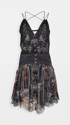 Camilla Short Silk Dress with Shaped Waistband