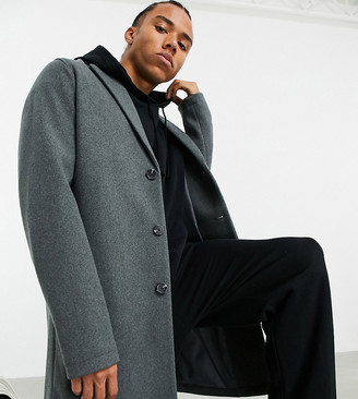 ASOS DESIGN Tall unlined wool mix overcoat in grey