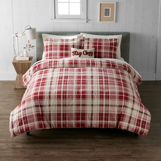 Cuddl Duds Red Ivory Plaid Heavyweight Flannel Comforter Set