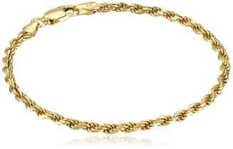 Amazon Essentials Yellow Gold Plated Sterling Silver Diamond-Cut Rope Chain Link Bracelet 7""