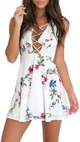 Berrygo Women's Sexy Deep V Neck Lace Up Floral Print Ruffled Party Mini Dress