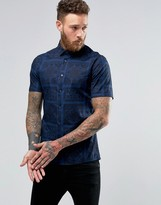 Asos Skinny Shirt In Navy Paisley Square Print With Short Sleeves