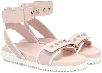 Valentino Rockstud leather-trimmed sandals