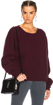 Unravel Cashmere Rib Crewneck Sweater in Red.