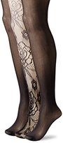 Betsey Johnson Women's Rose Tights 3-Pack