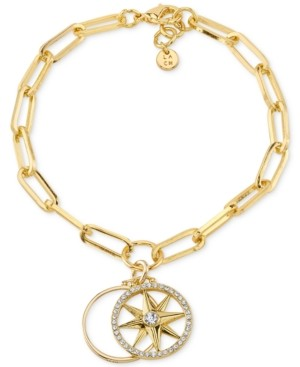 Unwritten Crystal Compass Star Open Disc Silver Plated Charm Bracelet in Gold-Plated Brass