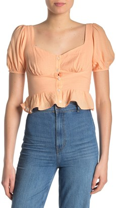 Lush Sweeheart Neck Puff Sleeve Shirt