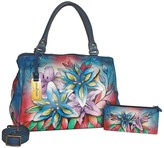 Anuschka Hand-Painted Leather Triple Compartment Large Satchel