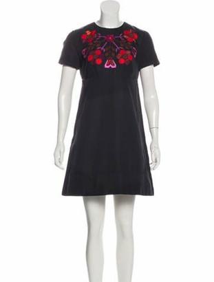 Gucci Embroidered Mini Dress Black