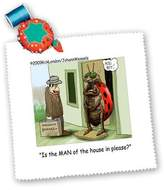 3dRose LLC qs_1461_1 Londons Times Funny Bugs and Slugs Cartoons - The Ladybug And The Chauanist - Quilt Squares