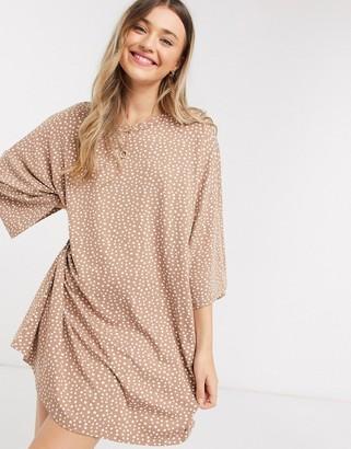 ASOS DESIGN oversized t-shirt dress in taupe spot print