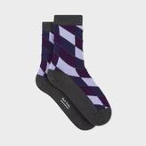 Paul Smith Women's Dark Grey Diagonal Block Stripe Socks
