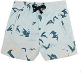 Munster BAT-PATTERN FRENCH TERRY SHORTS-LIGHT BLUE, TURQUOISE, GREY SIZE 2