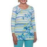 Alfred Dunner Bonita Springs 3/4 Sleeve Crew Neck Floral T-Shirt-Womens