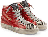 Golden Goose Deluxe Brand Slide High-Top Sneakers with Patent Leather and Calf Hair