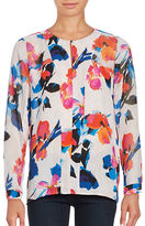 Vince Camuto Long Sleeve Floral Keyhole Blouse