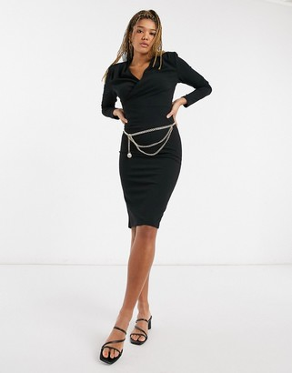 Girl In Mind wrap detail midi pencil dress with gold belt detail in black
