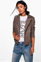 Boohoo Abigail PU Biker With Quilted Shoulder Detail