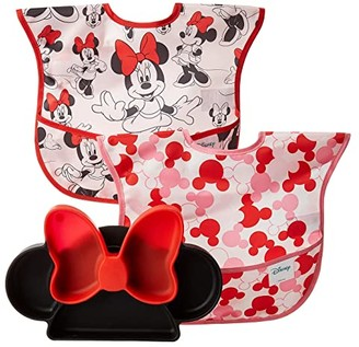 Bumkins Disney Minnie Silicone Grip Dish w/ Bib 2-Pack (Minnie) Accessories Travel