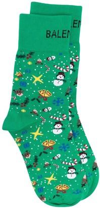 Balenciaga Christmas-print knitted socks